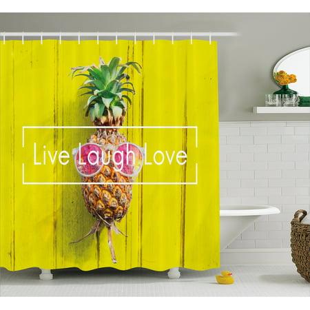 Live Laugh Love Shower Curtain, Tropical Pineapple Fruit with Sunglasses on Yellow Wood Board Joyful Print, Fabric Bathroom Set with Hooks, Multicolor, by Ambesonne (Pineapple With Sunglasses)