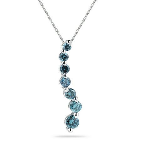 1/2 Carat TW Blue Diamond S Journey Pendant in 14K White Gold