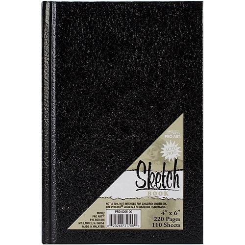 "Pro Art Hard Bound Sketch Book, Black, 4"" x 6"""