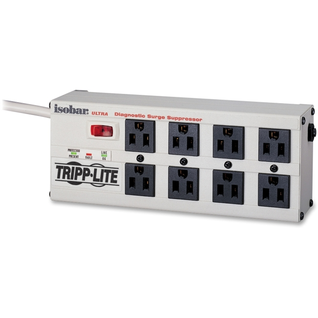 Tripp Lite 8 Outlet Isobar Surge Protector Power Strip, 12 ft. Cord, Right Angle Flat Plug, 3840 Joules, LEDs, Metal Housing (ISOBAR8 ULTRA)