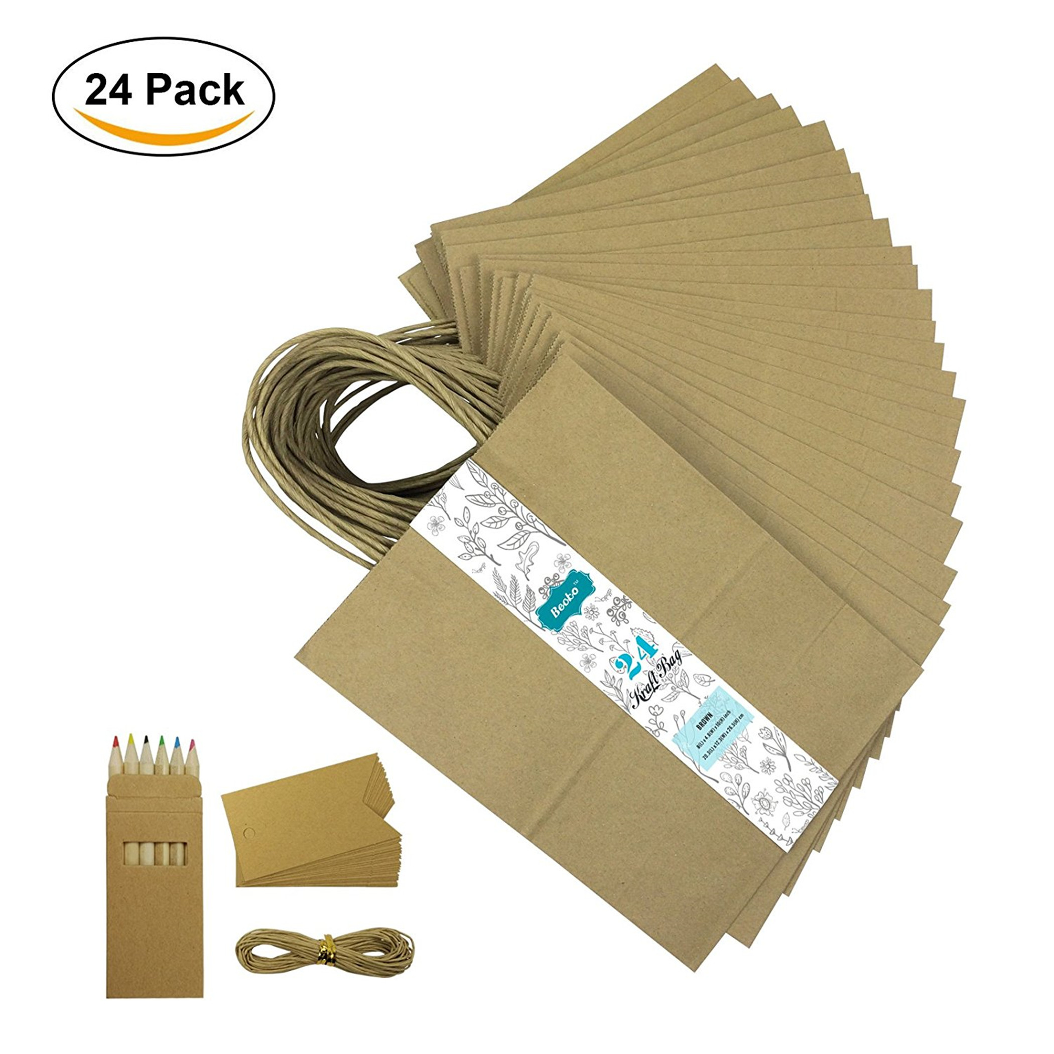 "Becko Brown Kraft Paper Bags, Shopping, Merchandise, Party, Gift Bags - 24 Count - 8""x5""x10.5"""