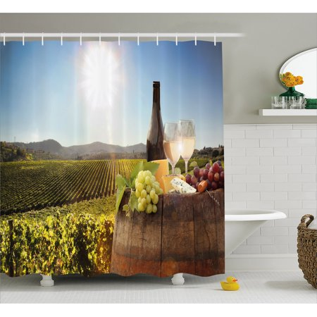 Wine Shower Curtain White With Barrel On Famous Vineyard In Chianti Tuscany Agriculture Fabric Bathroom Set Hooks Green Brown Pale Blue