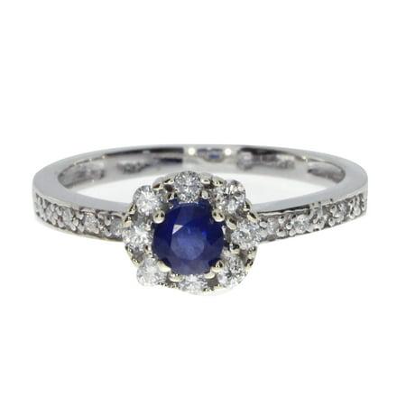 14k White Gold Sapphire and .21 ct Diamond Ring (1/4 Ct Diamond Sapphire Ring)