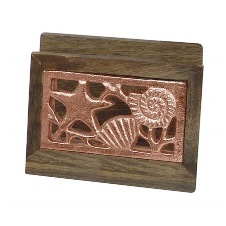 NuSteel TG-NP-01C Wooden Napkin Holder with Burnt Wood & Copper ()
