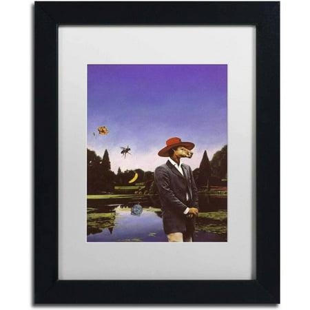 Trademark Fine Art Kangaroo Hat Canvas Art By Nick Bantock  White Matte  Black Frame