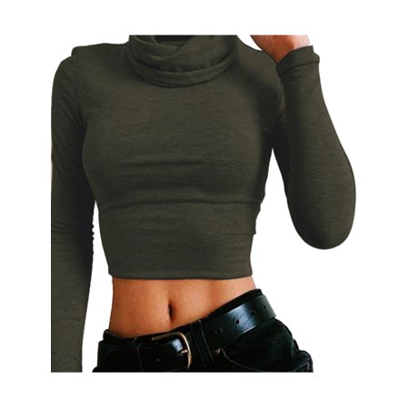 Women High Neck Crop Tops Winter Long Sleeve Bodycon Shirt Autumn Pullover Jumper Ladies Polo Neck Slim Basic Shirts (Crop Tops For Winter)