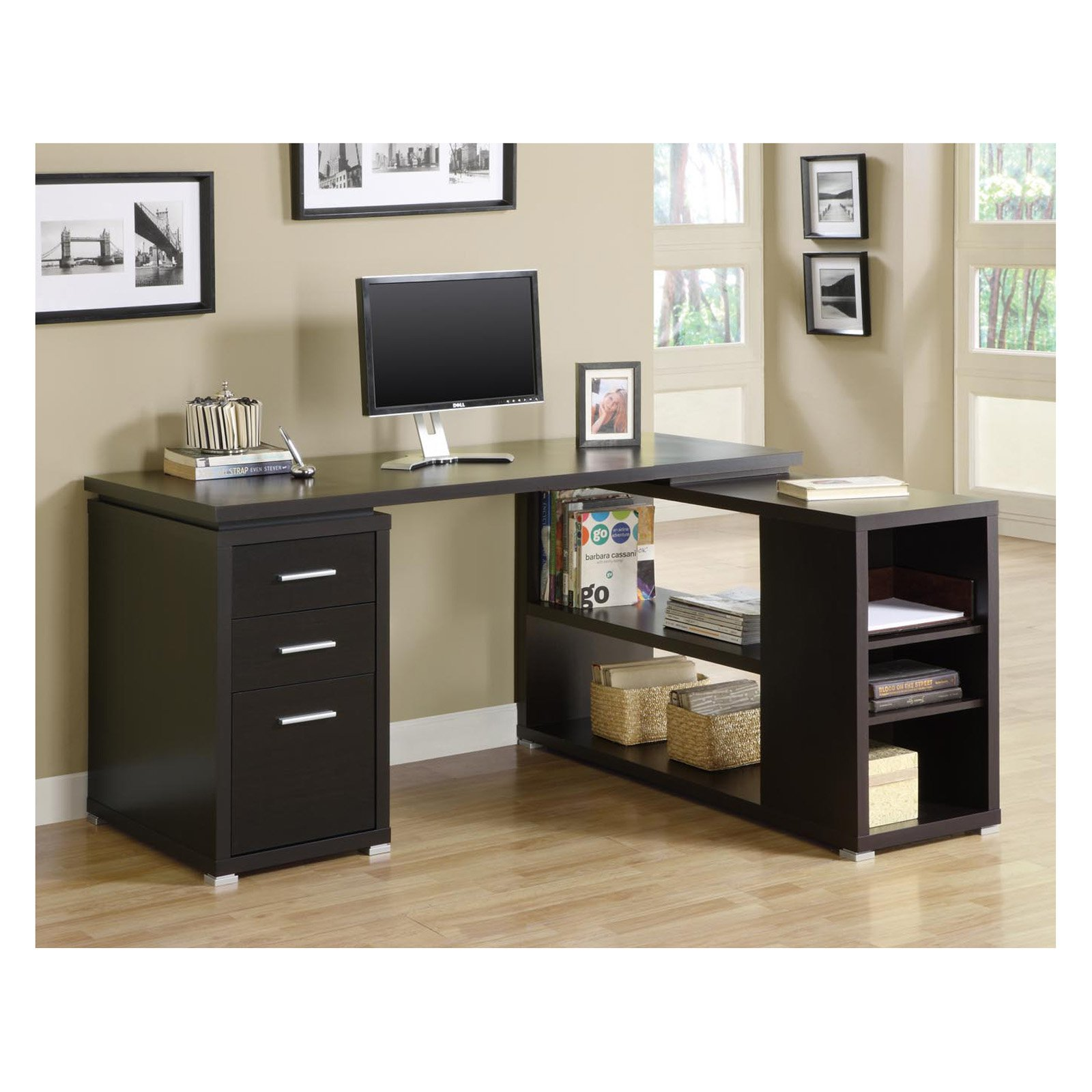 Monarch Cappuccino Hollow-Core L-Shaped Computer Desk - Walmart.com