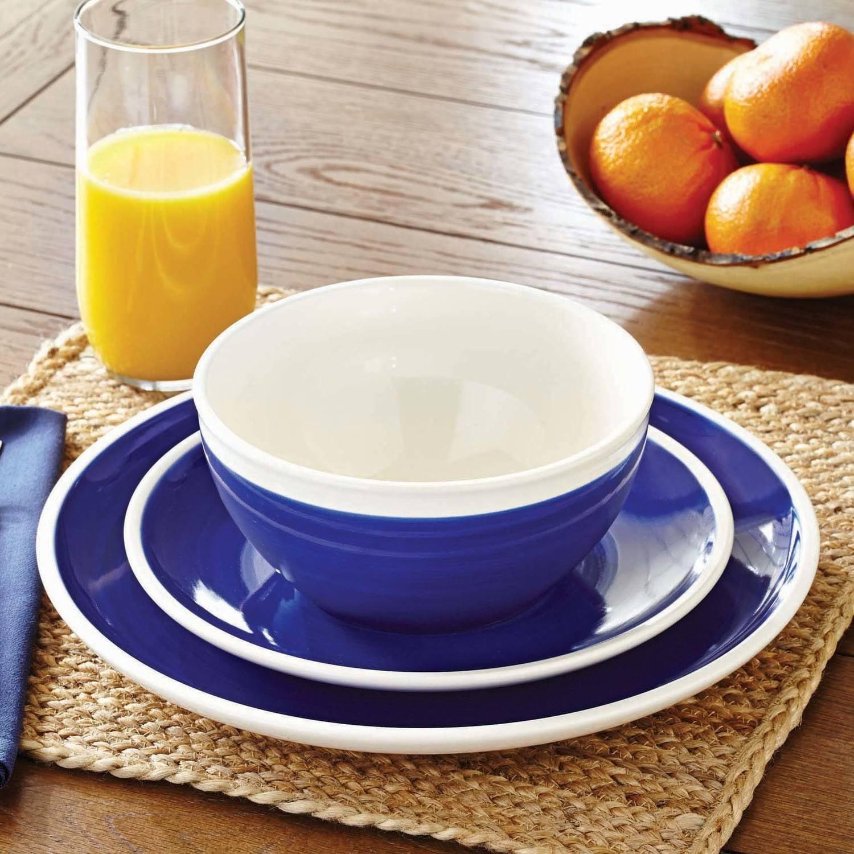 Better Homes and Gardens Indigo Swirl 12-Piece Dinnerware Set, Blue