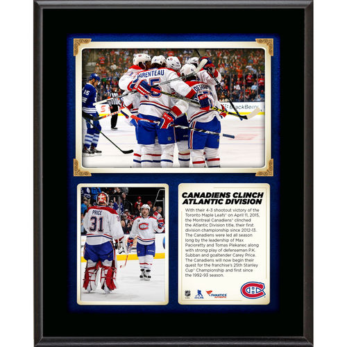 Montreal Canadiens 10.5'' x 13'' 2015 Atlantic Division Champions Sublimated Plaque - No Size