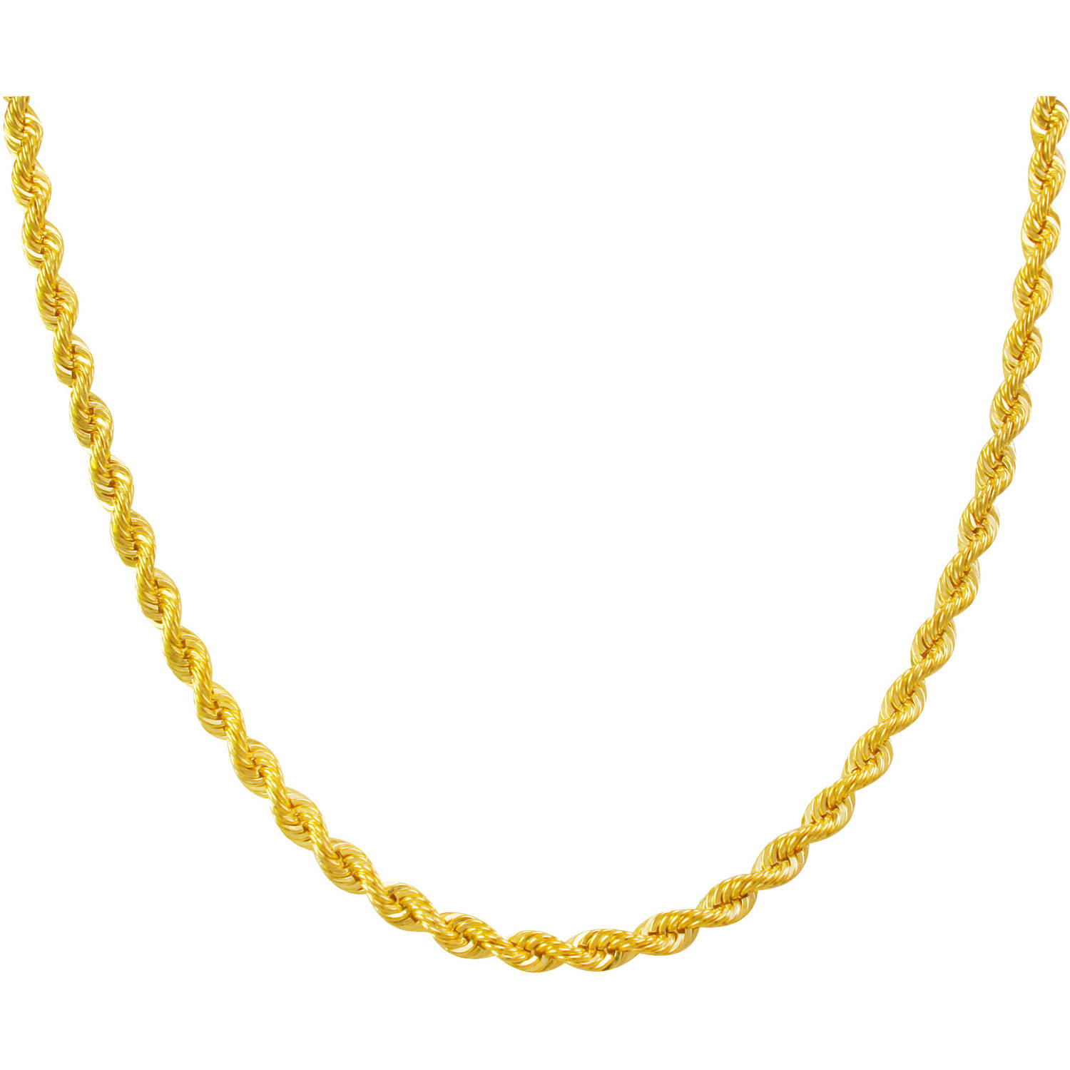 10kt Gold over Sterling Silver Rope Chain, 24