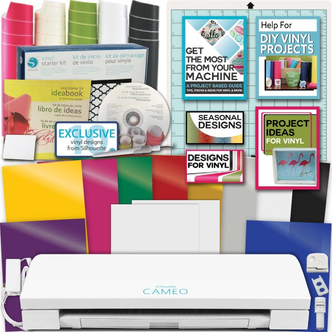 picture regarding Inkjet Printable Vinyl Walmart named Silhouette Cameo 3 System Deal Rookie Vinyl 10 Oracal Sheets Layouts Equipment