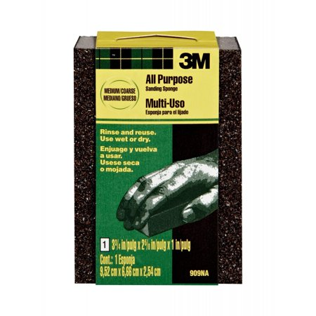 3M All Purpose Sanding Sponge, 3.75 in. x 2.625 in. x 1 in., Medium/Coarse Grit, - Dura Block Sanding Kit