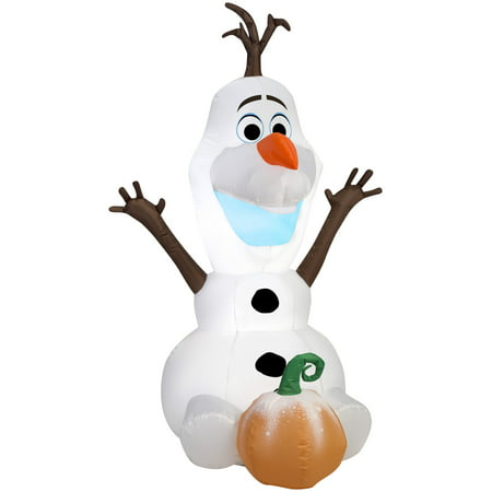 Gemmy Airblown Disney Sitting Olaf with Pumpkin - Disney Pumpkin