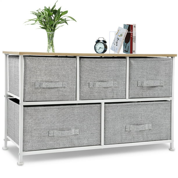 Bigroof Drawer Dresser Storage Tower with Sturdy Steel Frame Easy Pull Fabric Bins Organizer Unit for Bedroom, Hallway, Entryway Closets Light Gray, 5 Drawers