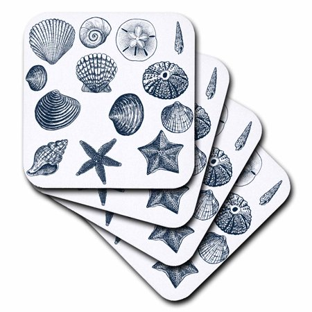 3dRose Blue Sea Shells Nautical beach theme ocean art, Soft Coasters, set of 4