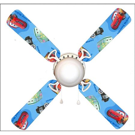 888 Cool Fans F42-0001012 42 in. Cars Mater & Lightning Blue 4-Blades Ceiling Fan with Schoolhouse Lamp
