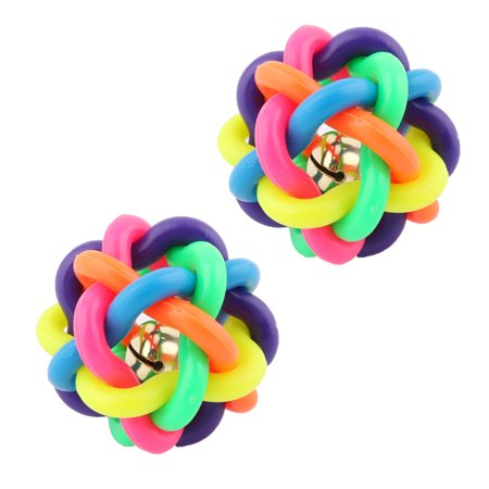 Pet Dog Puppy Braided Ball Bell Rope Chew Toy Multicolor 2.4 Inch -