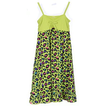 Girl's Summer Dresses Spaghetti Strap Styles Knee Length Sundress in Vivid Colorful