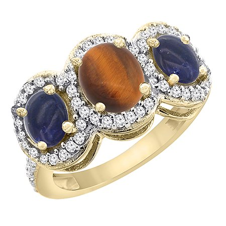 10K Yellow Gold Natural Tiger Eye & Lapis 3-Stone Ring Oval Diamond Accent, size 8 10k Gold Tiger Eye
