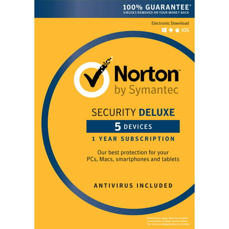 Norton Security Deluxe, 1 User, 5 Devices, 1 Year (User Edge)