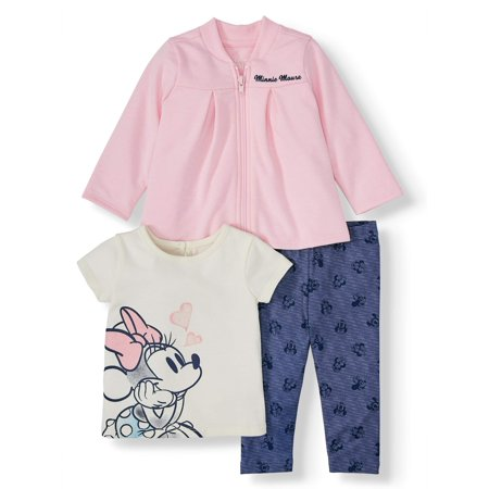 Disney Minnie Mouse Baby Girl French Terry Jacket, Jersey Tee, and Legging, 3pc Outfit Set (Jersey Outlets)