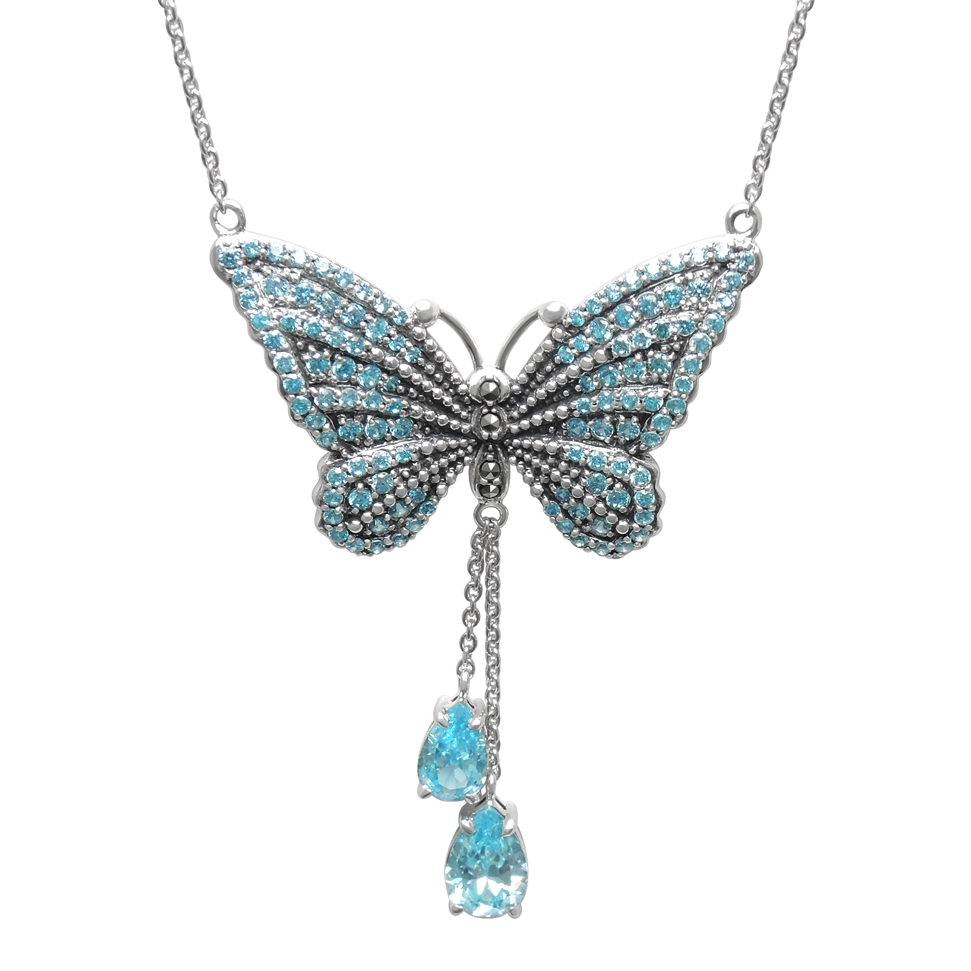 """MARC Sterling Silver Blue CZ & Marcasite Butterfly Pendant 18"""""""