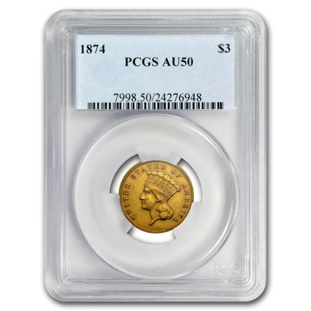1874 $3 Gold Princess AU-50 PCGS