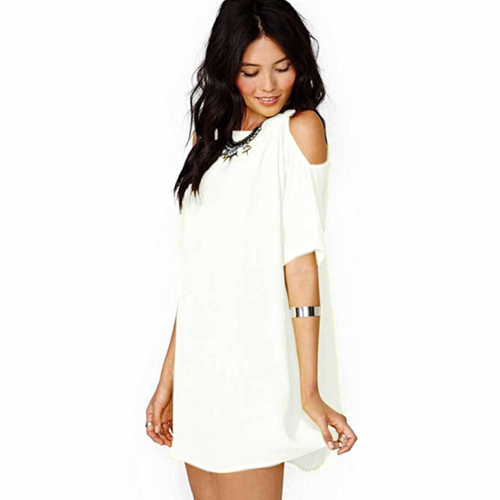 Summer Women Short Sleeve Casual Chiffon Cocktail Party Evening Short Mini Dress