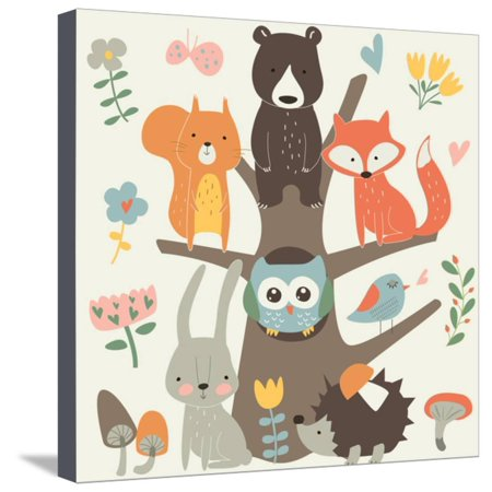 Forest Animal Set (Set of Forest Animals in Cartoon Style. Cute Hedgehog, Birds, Bear, Fox, Hare, Mushrooms, Elk, Snai Stretched Canvas Print Wall Art By Kaliaha Volha)