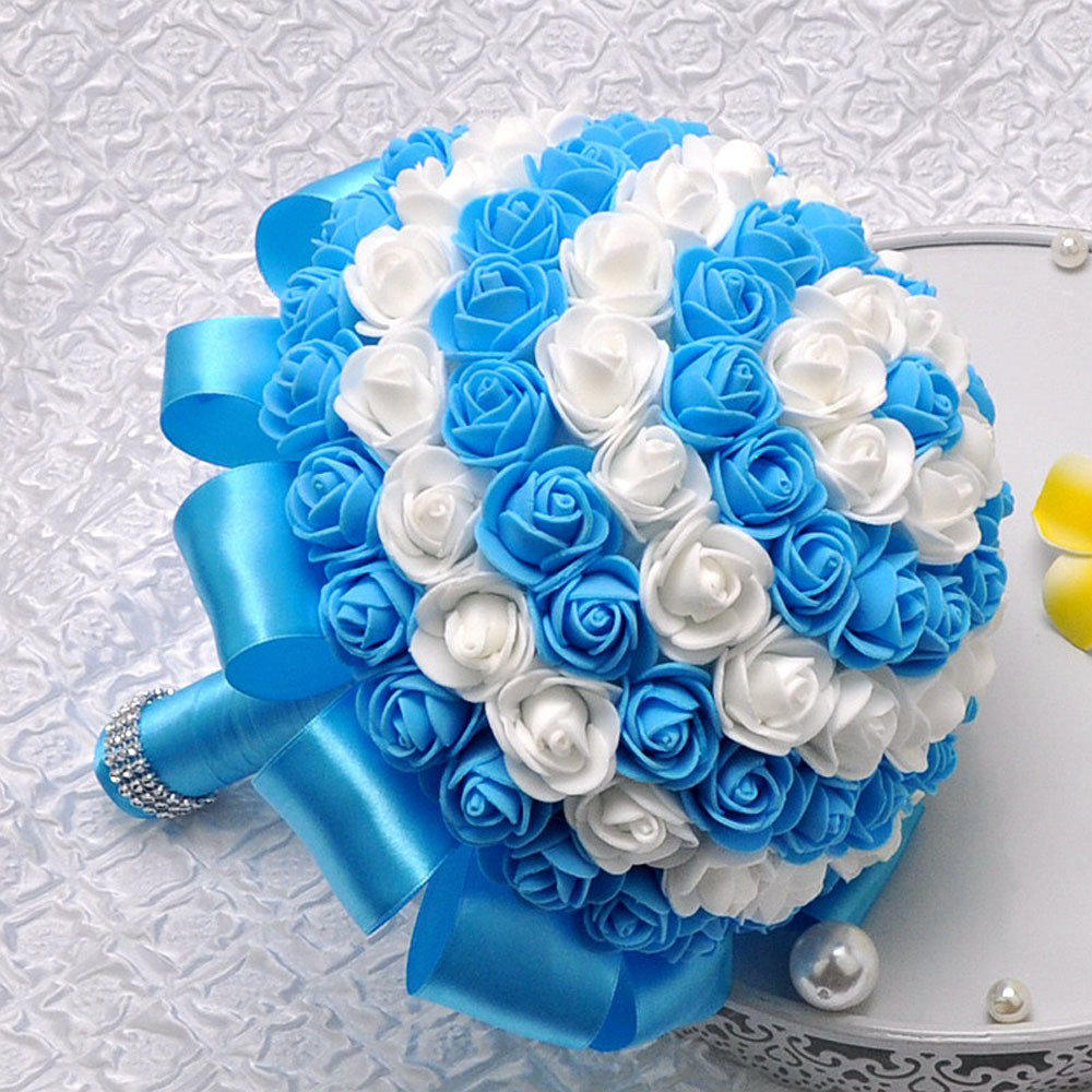 Mosunx Crystal Roses Bridesmaid Wedding Bouquet Bridal Artificial Silk Flowers