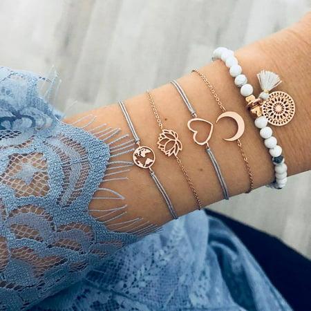 SEXY SPARKLES Stackable Bracelets Multilayer Boho Bracelet Sets Beads Metal Chain Rope Adjustabl Bracelets for Women Elastic Rope Charm Bangle Bracelet Best Women Teen Girls Gift Teens Wooden Bangles