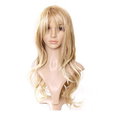 DYMADE Lady Long Curly Wavy Light Blonde Heat Resistant Tilted Frisette Fluffy Wig Wigs - Curly Blond Wig