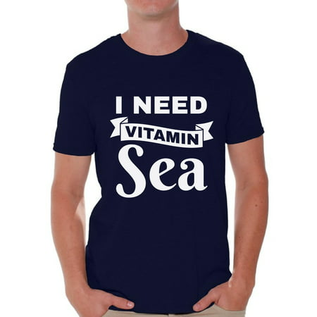 Awkward Styles I Need Vitamin Sea Shirt Vacation Shirts for Men Funny Summer Outfit Beach Party Gifts for Him Vacay Mode Tshirt Summer Beach T-Shirt Funny Gifts for Summer Summer Party Outfit