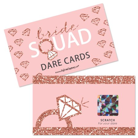 Bride Squad - Rose Gold Bridal Shower or Bachelorette Party Game Scratch Off Dare Cards - 22 Count - Save The Date Halloween Party