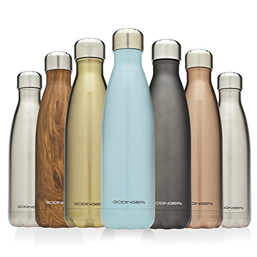 Godinger Insulated stainless Steel Water Bottle 17oz. ,Cola Style (hammered Copper)