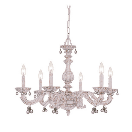 Chandeliers 6 Light With Antique White Murano Clear Crystal Wrought Iron 28  inch 360 Watts - World of Lighting - Walmart.com - Chandeliers 6 Light With Antique White Murano Clear Crystal Wrought