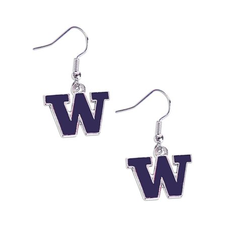 Washington Huskies Dangle Logo Earring Set NCAA Charm Gift