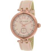 Women's 10023476 Pink Leather Quartz Watch