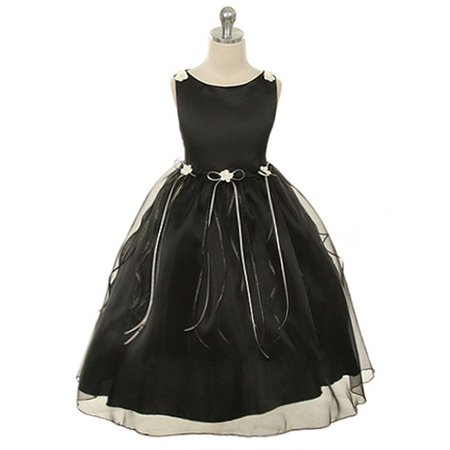 Kids Dream Little Girls Black Rosebud Organza Flower Girl Dress 10 - Flower Girl Dresses Organza