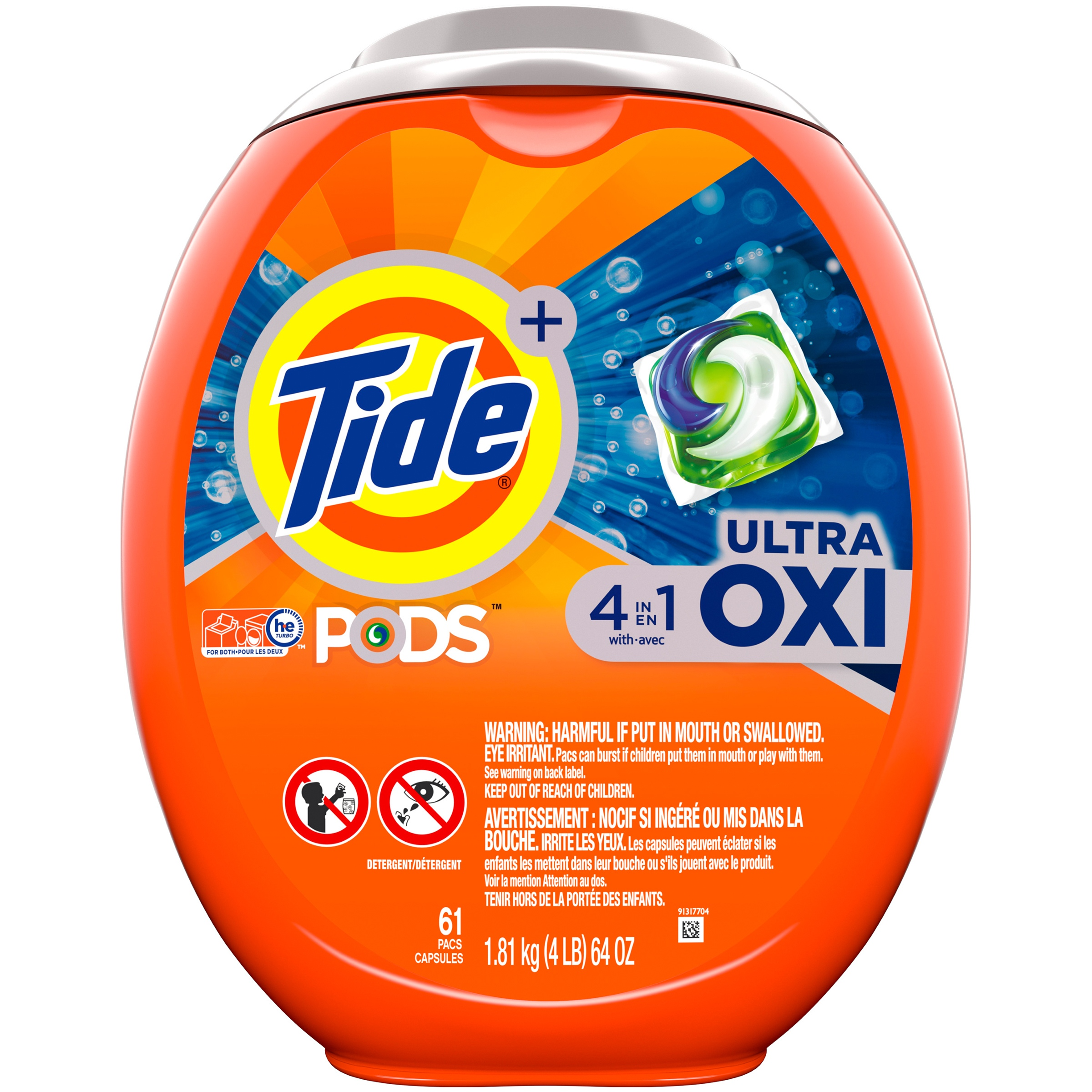 Tide PODS Ultra Oxi Liquid Detergent Pacs, 61 Count