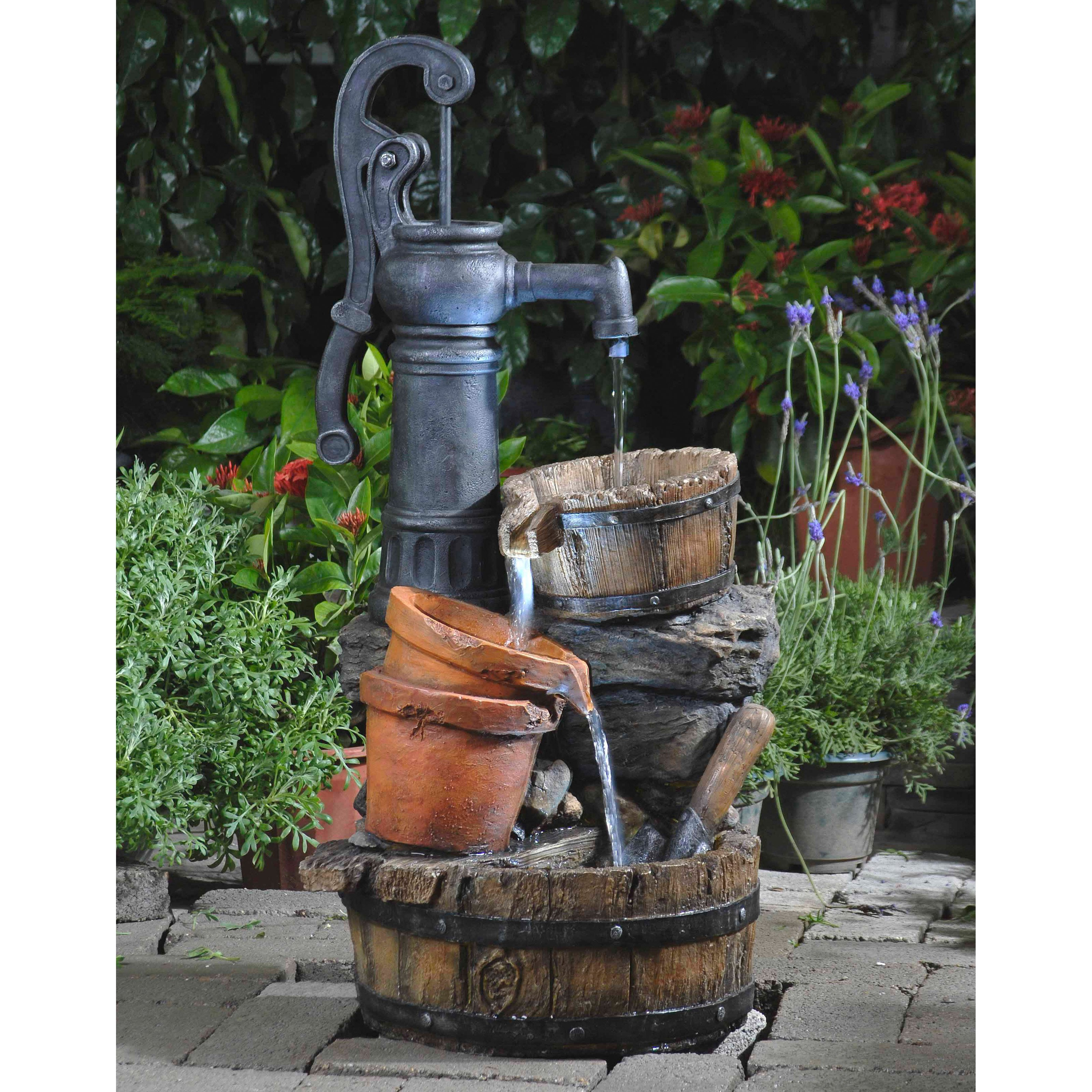 Merveilleux Jeco Classic Water Pump Outdoor Fountain With Led Light