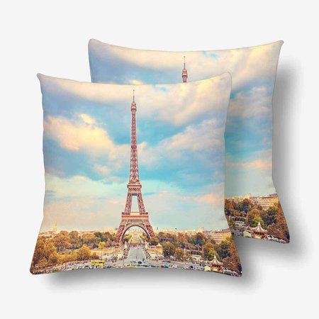 GCKG Eiffel Tower Summer Sunny Evening Paris Throw Pillow Covers 18x18 inches Set of 2 - image 3 de 3