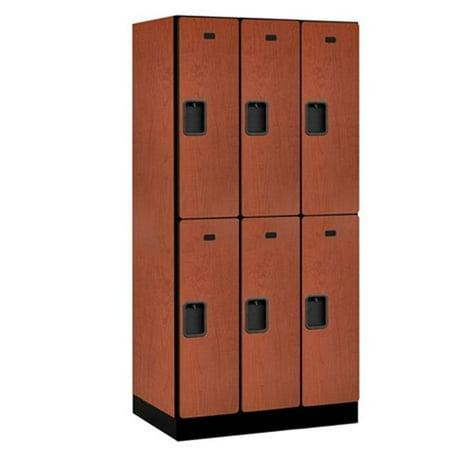 Salsbury 32361CHE Designer Wood Locker Double Tier - 3 Wide - 6 Feet High - 21 Inches Deep - Cherry