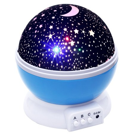 Juslike Kids Star Night Light, Rotating Star Projector, Desk Lamp 4 LEDs 8 Colors Chaging with USB Cable, Best for Children Baby Bedroom and Party (The Best Lcd Projector)