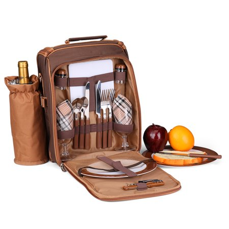Picnic Bag Kit - Set for 2 Person With Cooler Compartment, Detachable Bottle/Wine Holder, Plates and Flatware Cutlery Set Insulated Lunch Bag (Plaid Tartan - Brown) - Chest Plate