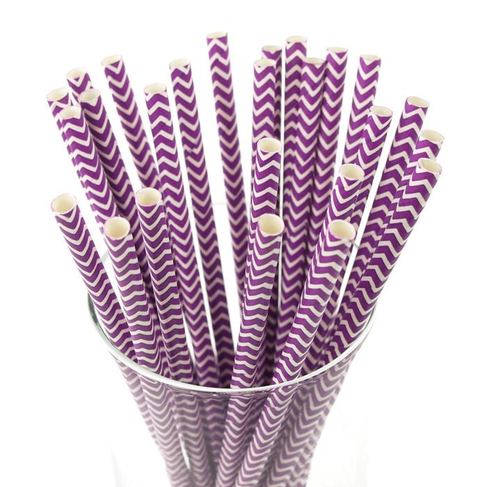 Chevron Paper Straws, 7-3/4-inch, 25-Piece, Purple