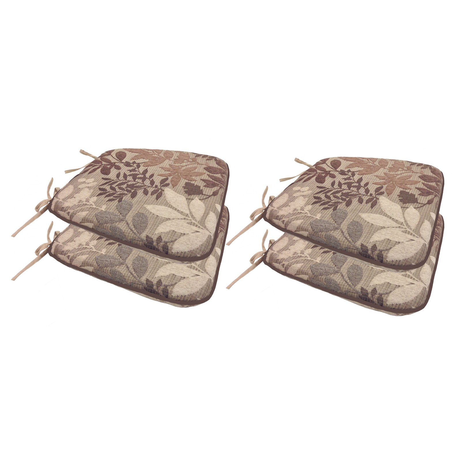Arlee 16 x 15.5 in. Reversible Bristol Foam Chenille Leaf Jacquard Chair Pad Set of 4 by Arlee Home Fashions Inc