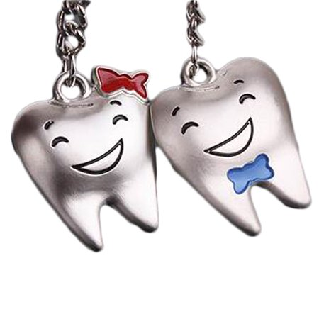 Fancyleo 4 Pcs Lovers Keychain Key Ring Tooth Shape Cute (Couples of Teeth) Valentine's Day Gift](Cute Couple Accessories)