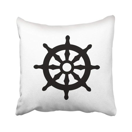 ARTJIA Navy Boat Helm Old Adventure Antique Captain Circle Control Cruise Pillowcase Throw Pillow Cover Case 18x18 inches