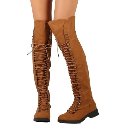 New Women Mark Maddux Travis-05 Leatherette Thigh High Lace Up Zip Combat Boot (Halloween Thigh High Boots)
